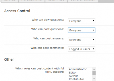 Access Restriction settings on cm answers wordpress forum plugin
